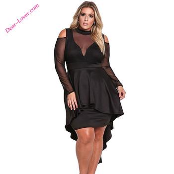 9bb2b2ed11 Fashion Women Plus Size Mesh Trim Hi-Lo Peplum Cold Shoulder Bodycon Dress