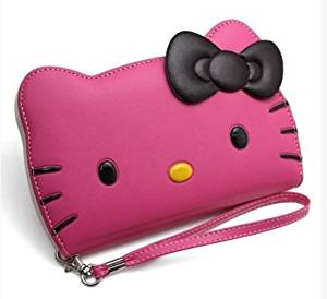 iPhone 6s Plus(5.5) Case, Hello Kitty 3D Wallet Case Apple iPhone 6 Plus 5.5 5.5 24K Gold Electromagnetic Waves Shield-Hot Pink