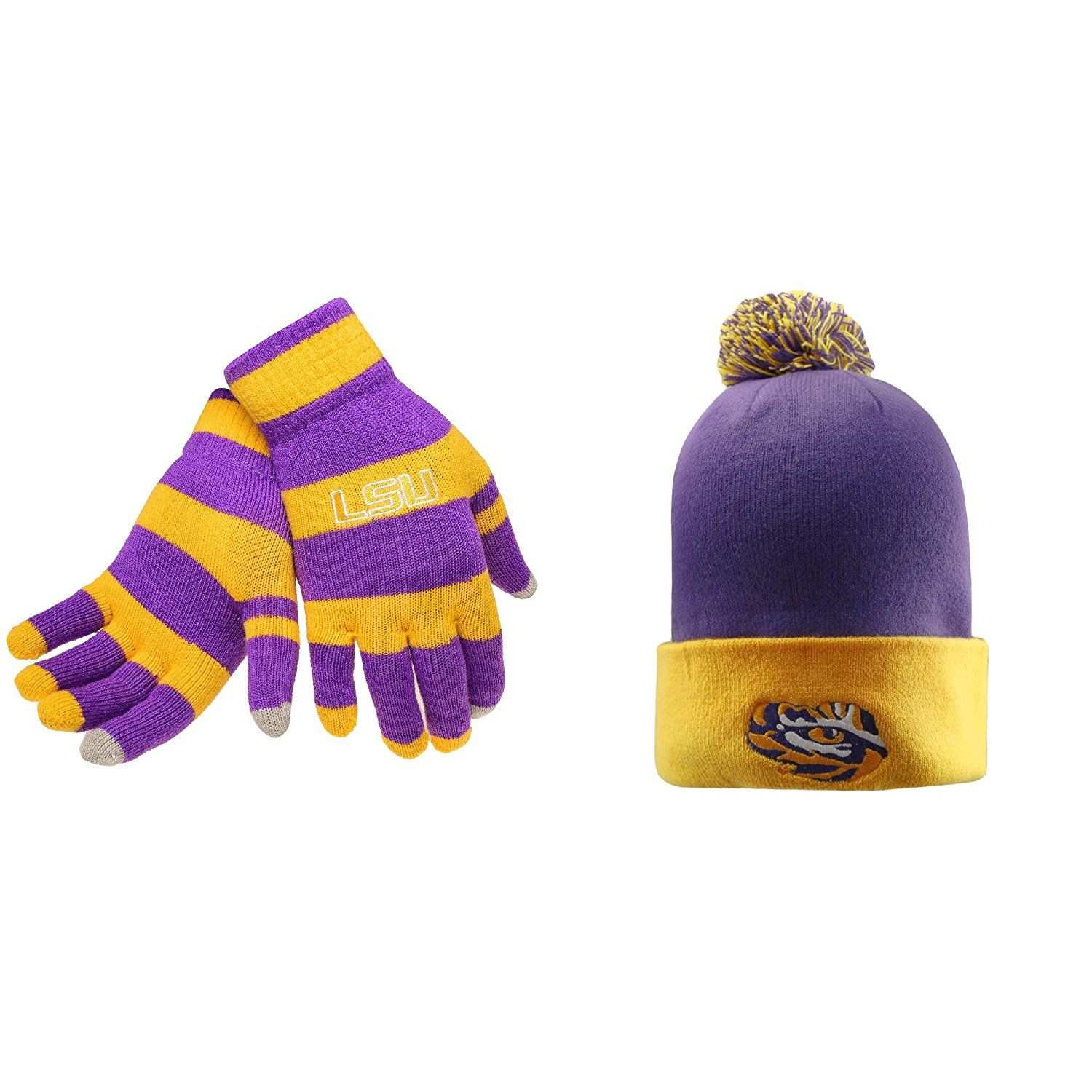 dcb643ccfbe Get Quotations · NCAA LSU Tigers Glove Stripe Knit And Pom Beanie Hat 2  Pack Bundle
