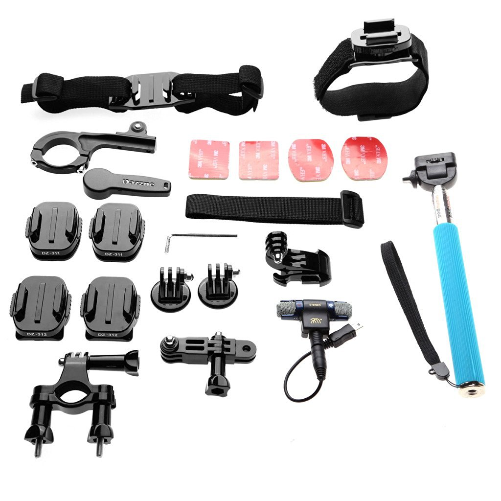 FOTOWELT GoPro Hero 4 3+ 3 2 1 Black & Silver Edition Accessores 26-Kit: Stereo Microphone + Head Strap + Wrist Strap + Chest Strap + Extendable Selfie Monopod + Handlebar + 2X Adhesive Stickers + 2X Flat Mounts + 2X Curved Mounts + Spanner Wrench + Car Cup Suction Holder
