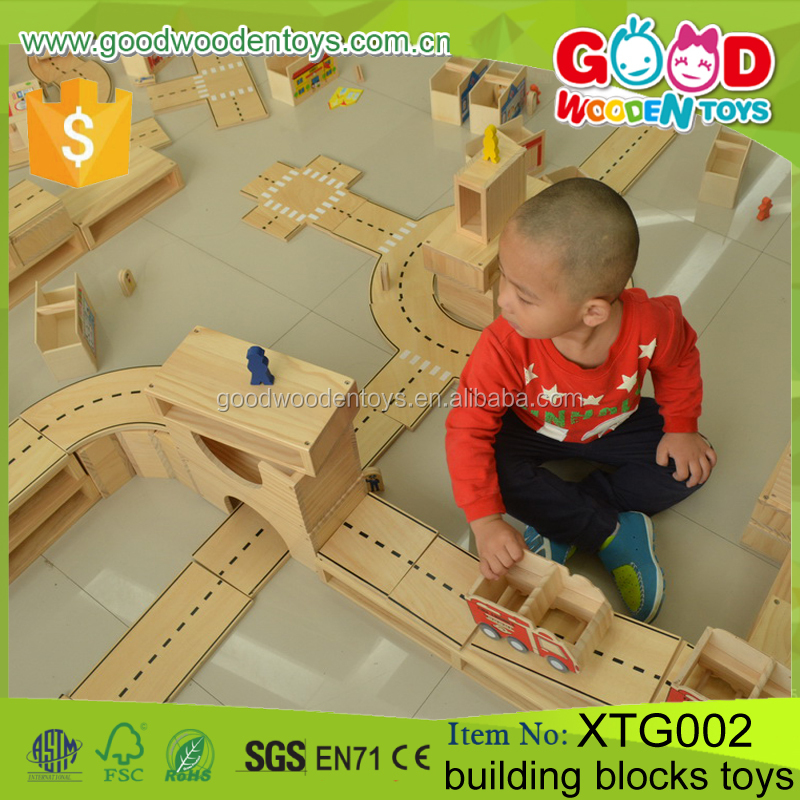 Children Natural Educational DIY <strong>City</strong> Wood Blocks Game Wooden Building Blocks Toys for Kids