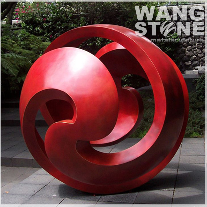 Large Contemporary Red Sphere Metal Sculptures