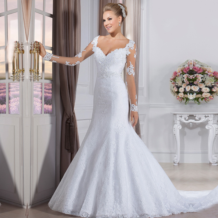 Simple Cheap Elegant Long Sleeves Wedding Dresses Lace: Vestido De Noiva Cheap Fashion Wedding Gowns China Bride