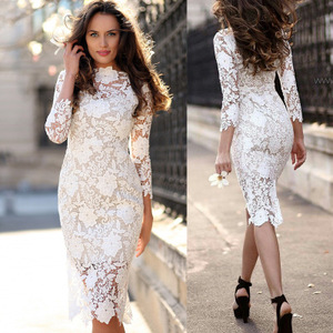 2019 Women Embroidered Evening Party Casual Lace Slim Bodycon Pencil Dress