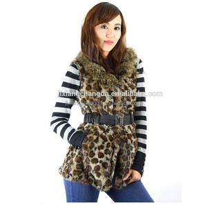 Leopard printed women rabbit fur vest with raccoon fur collar