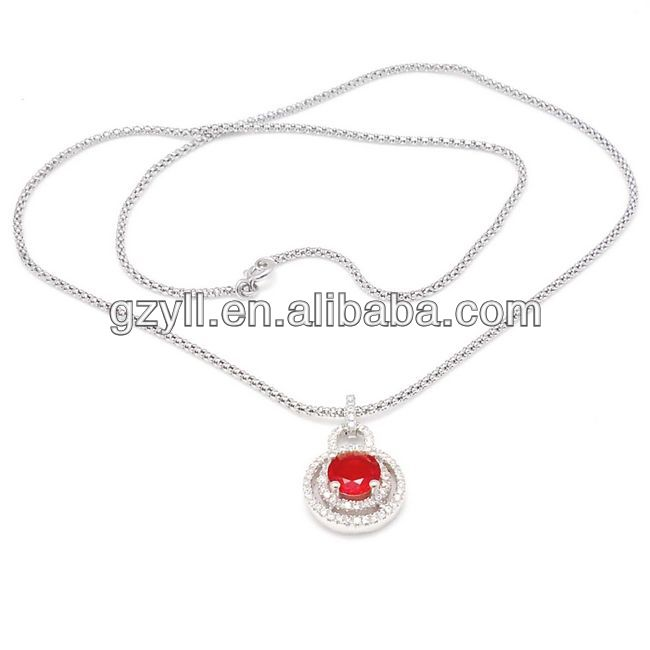 Red colour silver jewelry necklace  New simple style crystal necklace 925 silver necklace