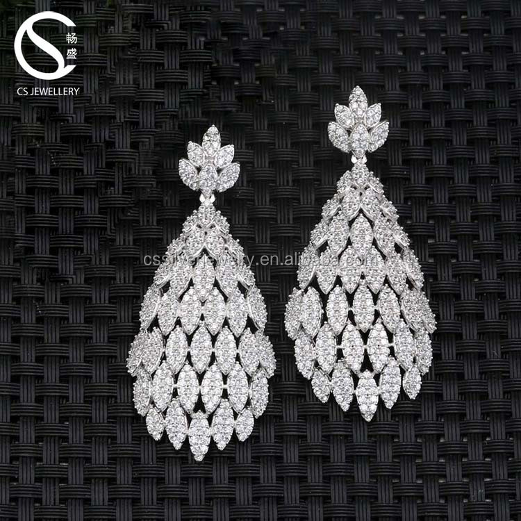 New design large silver sterling thread earrings with AAA cubic ziconia