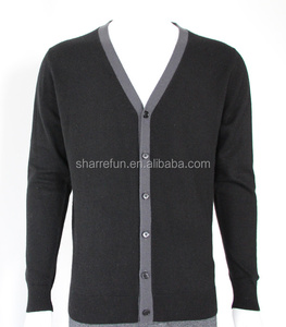 Many colors manufacturer 12gg flat knit men's cashmere buttoned cardigans