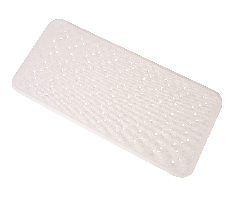 "Exerz Anti Slip Safety Bathtub Mat 13.4"" x 29"" – Non Slip Natural Rubber – Use in Bathtub, Bathroom, Shower Room - for Children, Elderly, Baby, All Family Members Skid Proof - White"