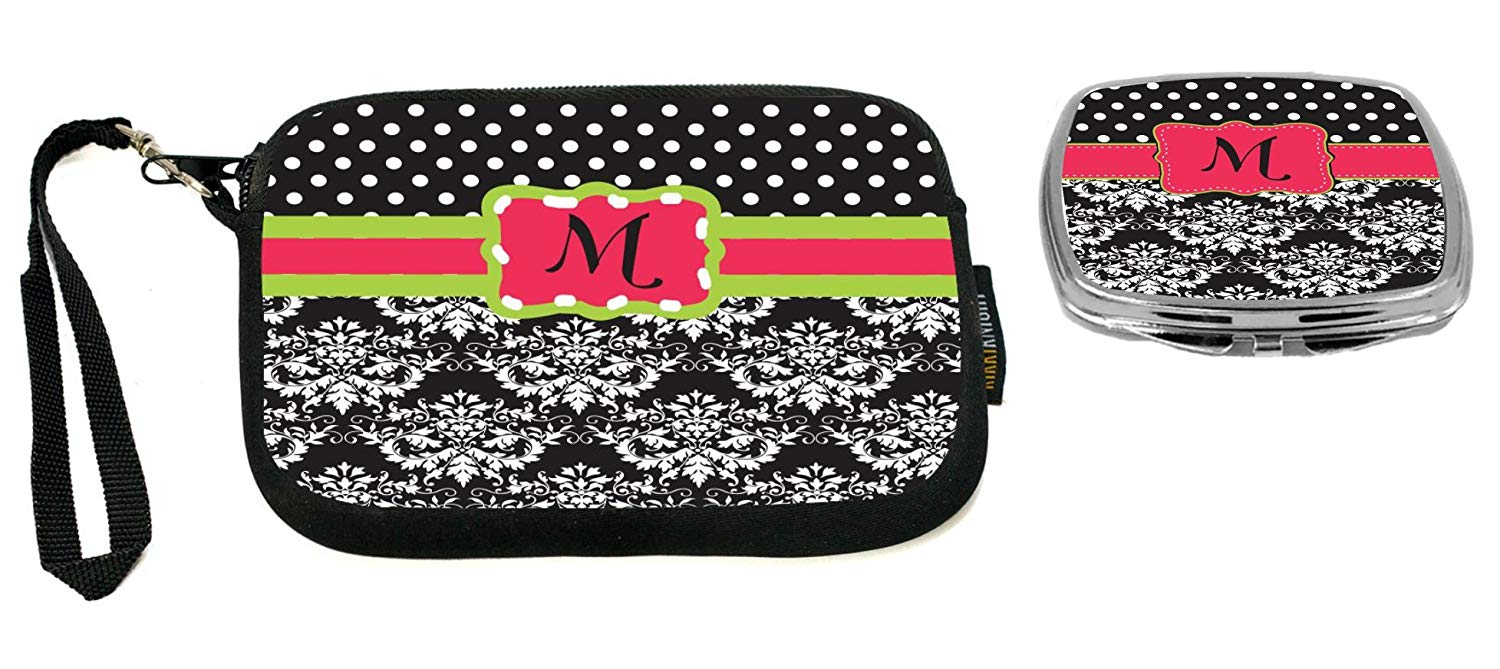 "Rikki Knight Letter""M"" Pink Green Black Damask Dots Design Neoprene Clutch Wristlet with Matching Square Compact Mirror"