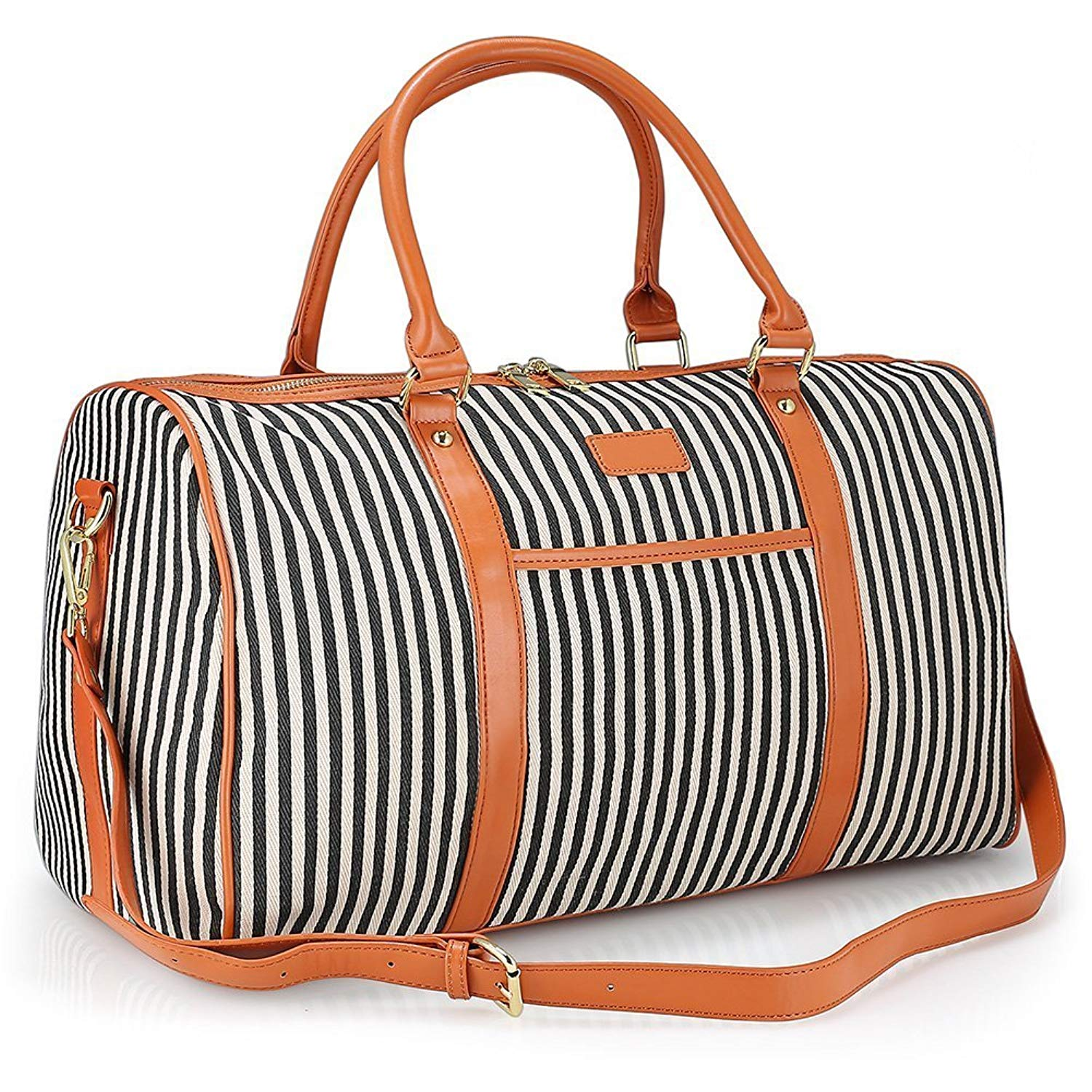 cd904512cab Get Quotations · Women Weekender Bag,Canvas Large Capacity Travel Holdalls  Weekend Overnight Bag Travel Duffel Tote Bag