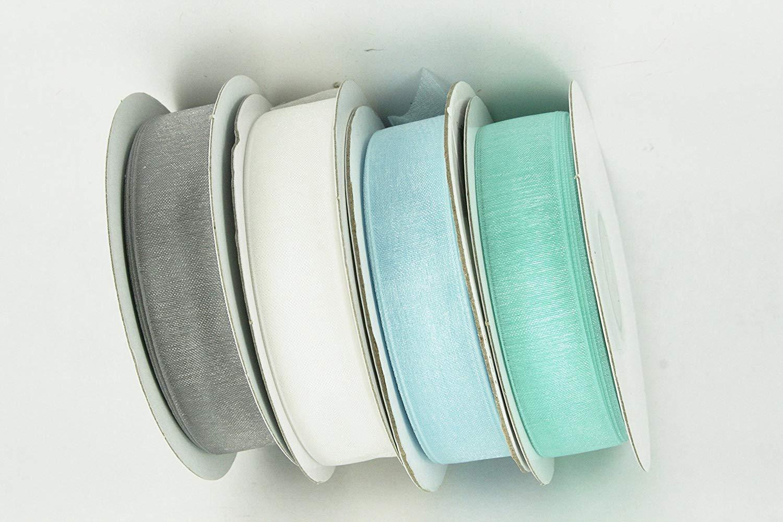 "CHRISTMAS Set of 4 Rolls Organza Plain 7/8"" Ribbon 25 yds each (100 Yds Total) Choose Color Combination (Aqua, Lt Blue, White, Silver)"