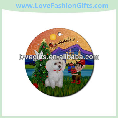 Fantasy Xmas&Amp,White Toy Poodle Ornament - Round