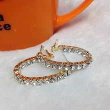 Gold alloy with diamond fashion earring