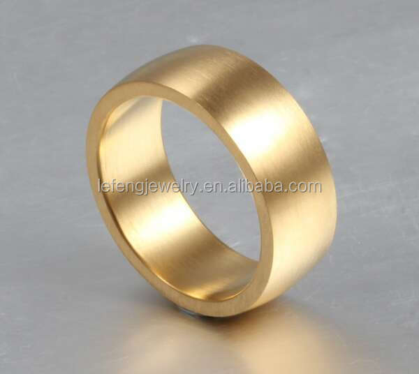 Fashion Stainless Steel Plain Gold Bands Ring Gold Ring Design For