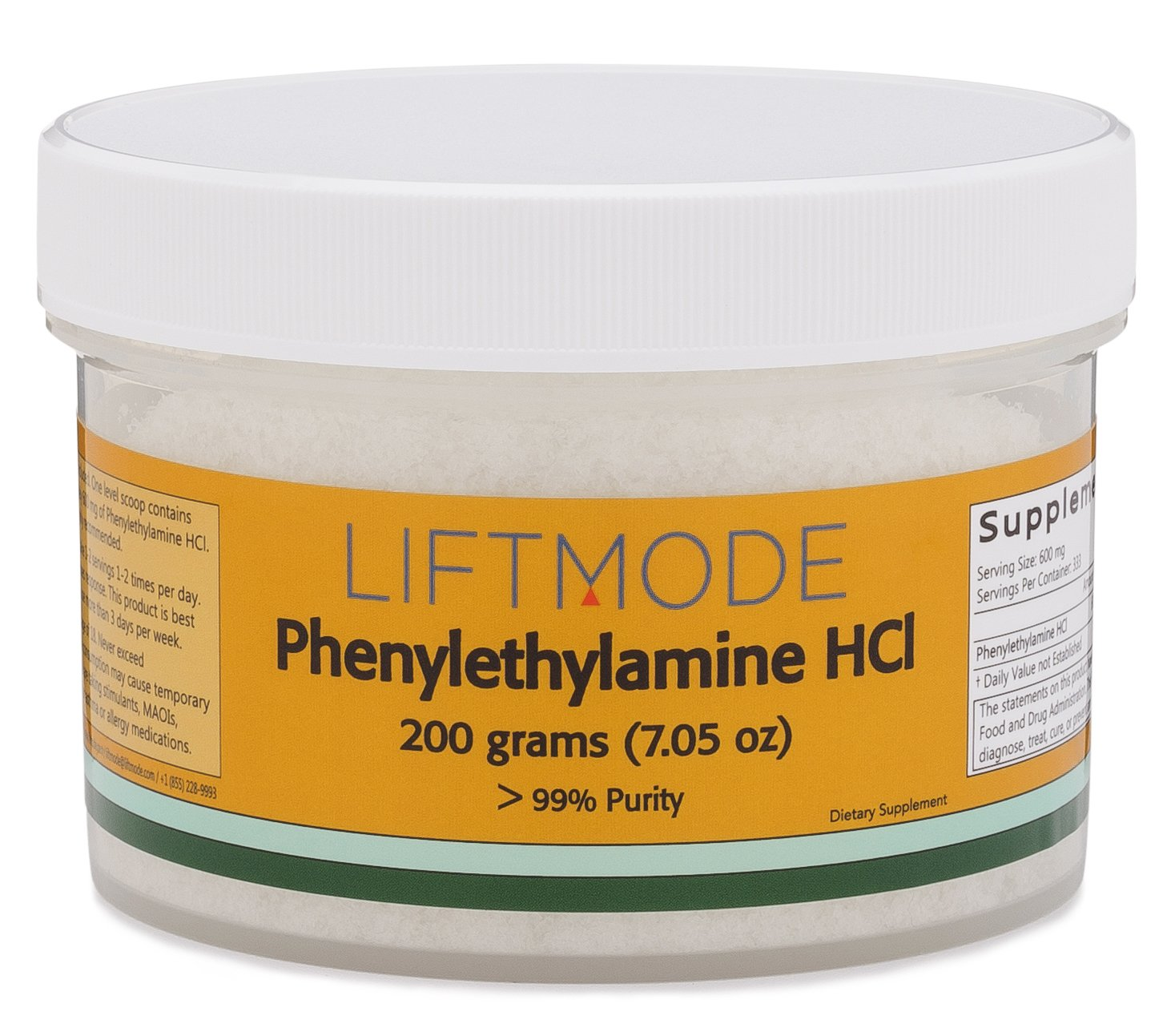 LiftMode Phenylethylamine HCL (PEA) Powder 99+% Pure - 200 Grams (330 Servings at 600 mg) | #Top Bulk Supplement | Increases Mood, Energy & Focus | Vegetarian, Vegan, Non-GMO, Gluten Free