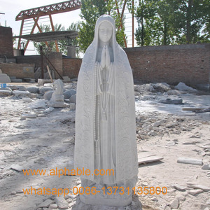 Vivid white marble our lady fatima statue