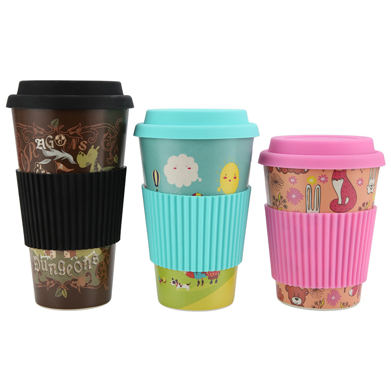 480ML/420ML/350ML Bamboo fiber reusable coffee <strong>cup</strong> With lid and Silicone insulation cover BPA FREE travel Milk coffee mug