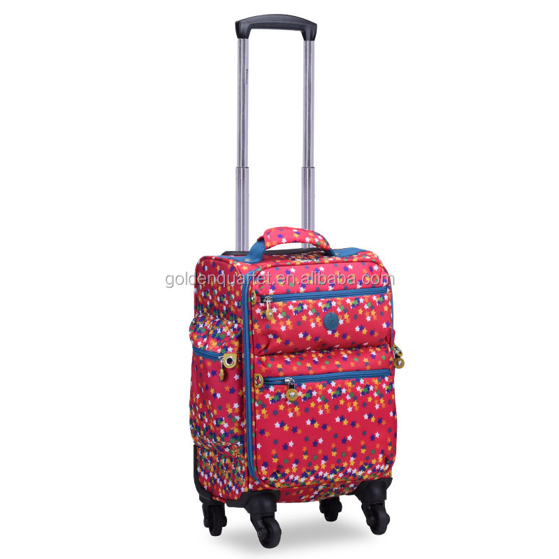 "Colorful printing cabin 4 Wheels travel luggage Suitcases 16""-24"" wheeled trolley suitcase bag rolling luggage bag"
