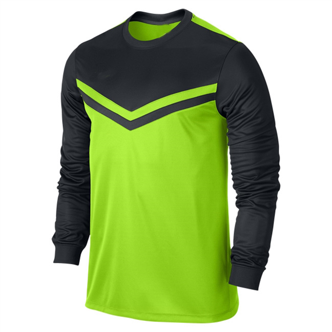 Round Neck Green And Black Long Sleeve Soccer Jersey - Buy Long ...