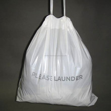 High quality plastic drawstring bag for laundry, shoes, storage with cotton string