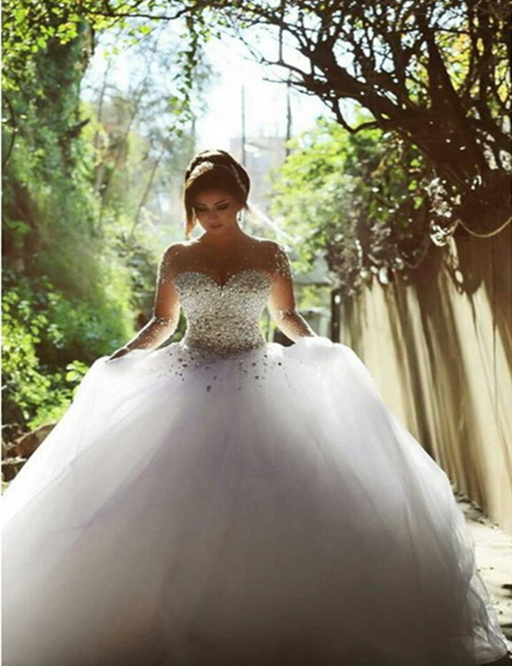 Wedding Dress 2016 Vestido De Noiva Long Sleeve Bridal Gown Rhinestones Pearls Crystals Ball Gown Robe