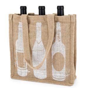 Custom High quality Linen window Pvc Coated Printed Jute wine bottle tote bag