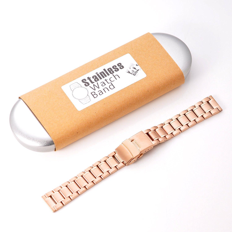 KR-NET 18mm Stainless Steel Metal Strap Smart Watch Band for Huawei Watch (Nova/Rose Gold)