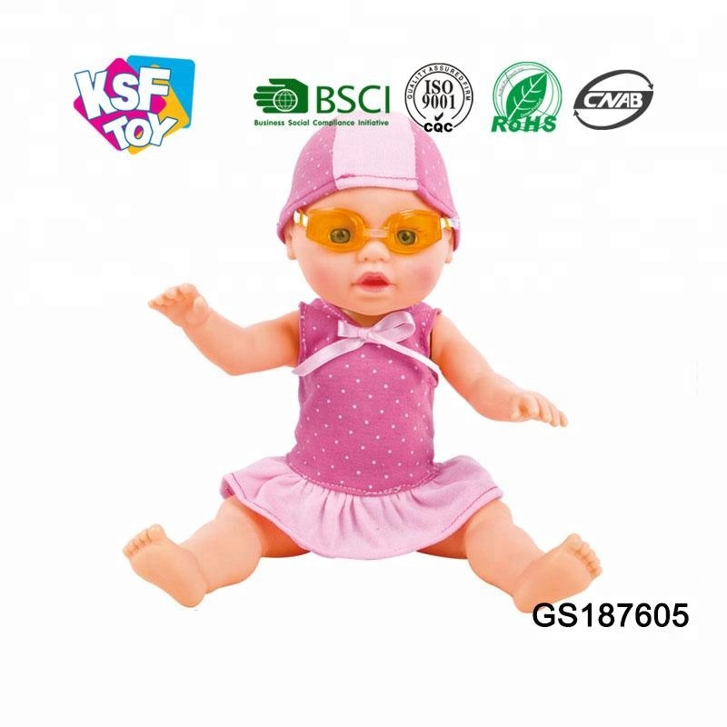 plastic 13 inch swimming B/O warm baby doll with low prices