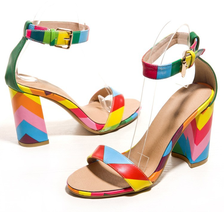 afd3acde2d3b New 2015 Sandals Sexy Women Rainbow Women Dress Shoes Multi Colored Heels  Elegant Party Shoes Summer