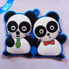 2017 Wholesale Panda keyrings, Boy and girl 3D design PVC rubber keychains