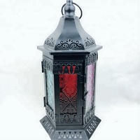 Wholesale indoor outdoor garden Morocco black metal candle holder lantern with LED candle for sales