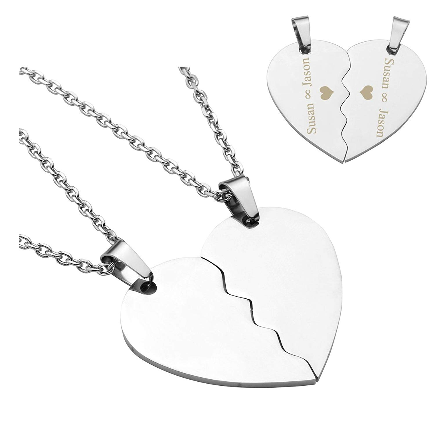 cf64b0761 Get Quotations · PiercingJ ❤VALENTINES GIFTS 2PCS Personalized Custom  Engraved Stainless Steel Matching Heart Puzzle Pendant His and