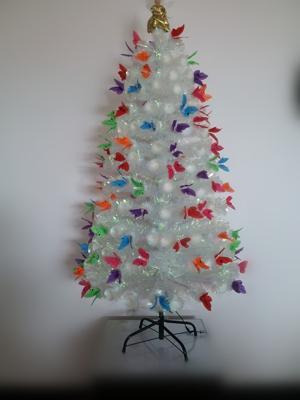 Beautiful White Fiber Optic Christmas Tree With Colorful Butterfly, Top Angel  Decoration