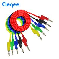 Cleqee P1036 1M 5 Colors Dual 4mm Stackable Banana Plug multimeter test lead for Multimeter