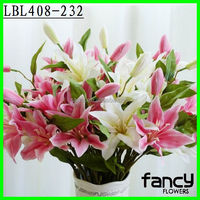 Decorative single stem 3 heads flower artificial lily