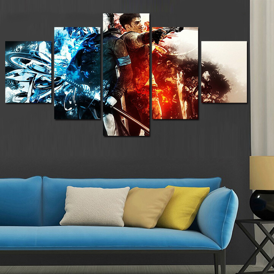 Hot sell 5 panel cuadros home decor modern printed movie scarface painting canvas wall art home decor for living room no frame modern home decor olivia