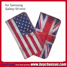 USA flag leather cases for Samsung galaxy S4 mini i9190