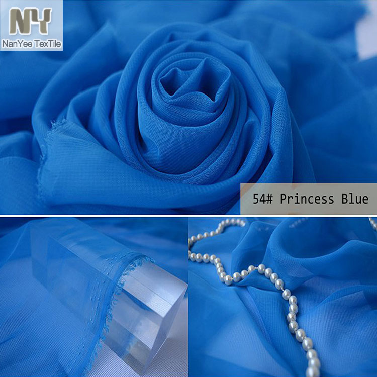 Nanyee Textile Wedding Backdrop Decoration Polyester Blue Chiffon Fabric