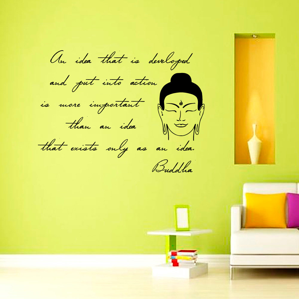 Inspiring Sentence Buddha Wall Sticker Living Room Removable ...