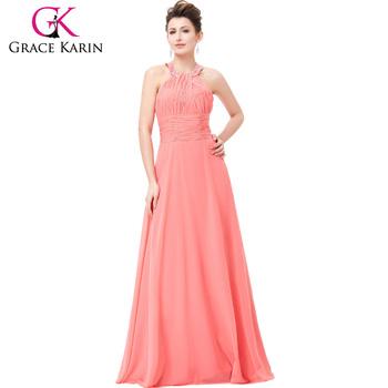 Grace Karin Elegant Halter Design Watermelon Flowing Long Chiffon