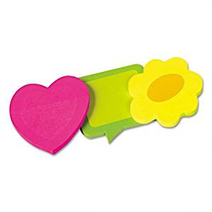 Redi-Tag Products - Redi-Tag - Two-Tone Self-Stick Notepads, 3 Die-Cut Shapes, 3 50-Sheet Pads/Pack - Sold As 1 Pack - Bright neon two-tone paper and unique die-cut shapes are attention-getters. - Notes remove and reposition easily. -