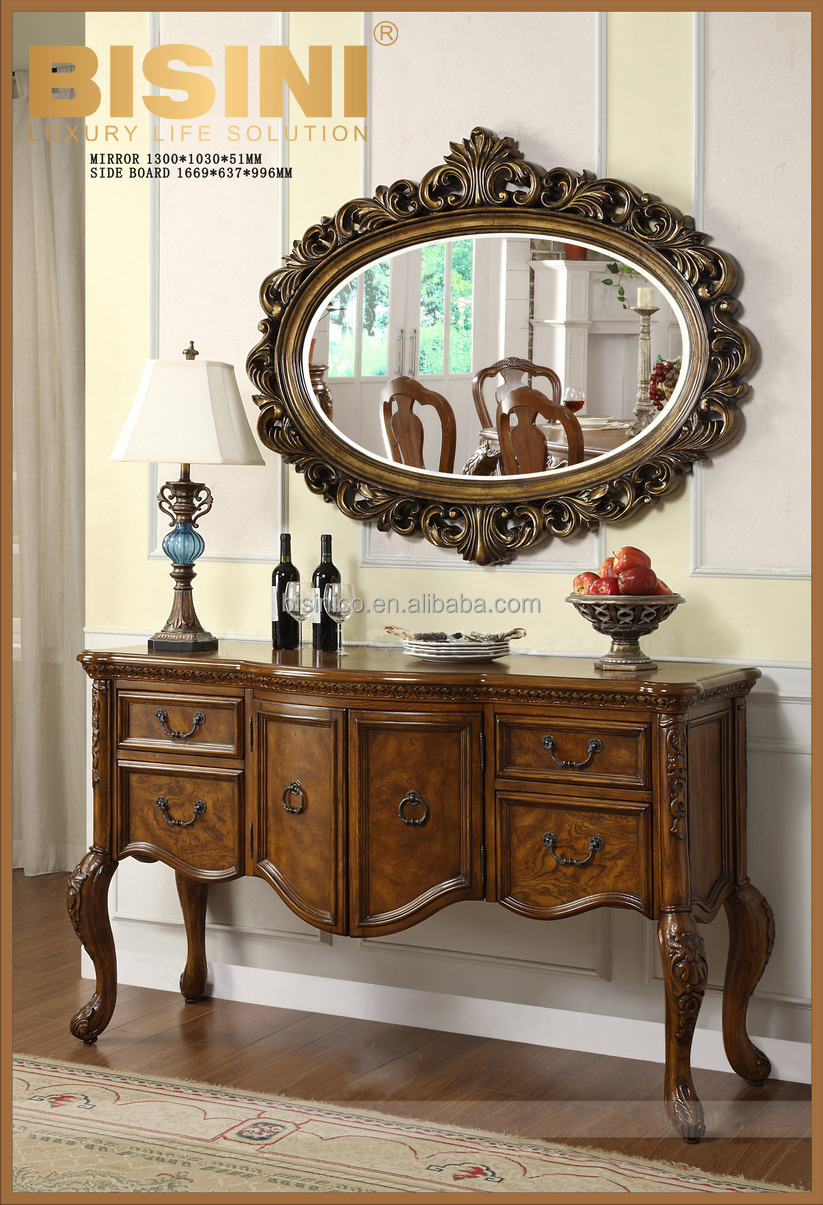 Wooden console table with mirror - Classic American Style Wooden Console Table With Mirror