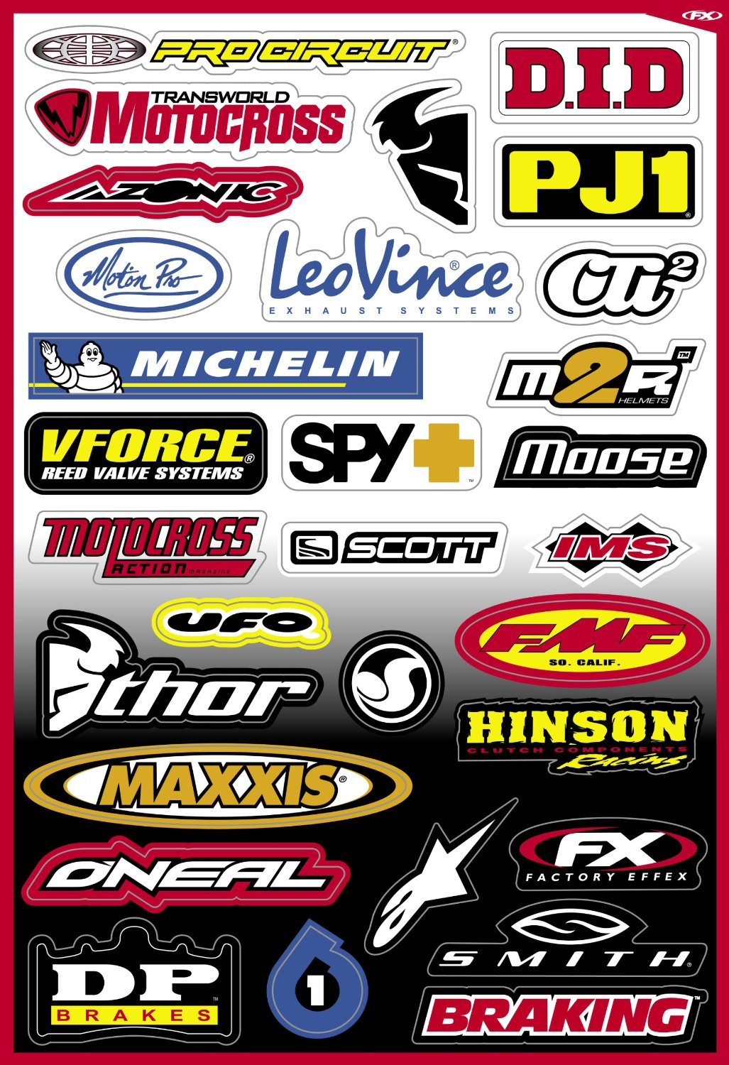 Factory Effex Street Sponsor Sticker Sheet 15-68800