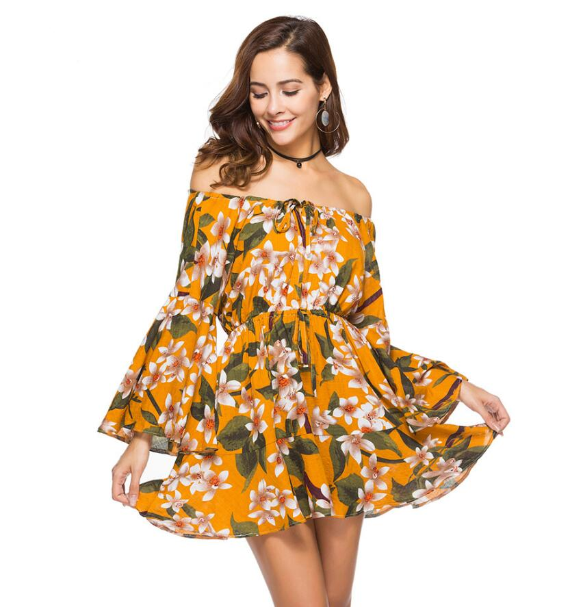 Spring Summer Fashion Boho Clothing Women Long Sleeve Floral Print Yellow  Off Shoulder Dress 37a0f9a369