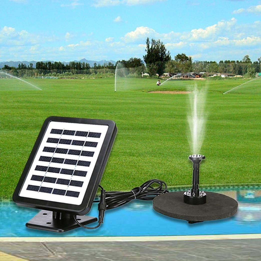 Iuhan Solar Powered Fountain Water Pump, Outdoor Solar Powered Bird Bath Water Fountain Pump With LED For Pool Garden (black)