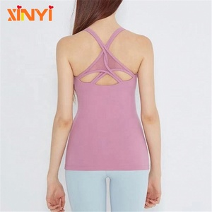 Wholesale Women Loose Fit Vest Active Wear Top Custom Sexy Sports Tank Top With Mesh