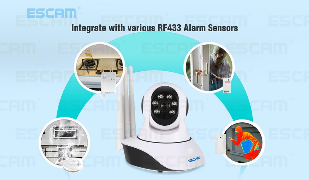 Escam QF503 960P Three Antenna Wireless YOOSEE IP Camera Night Vision IR Security Support 433MHz Alarm