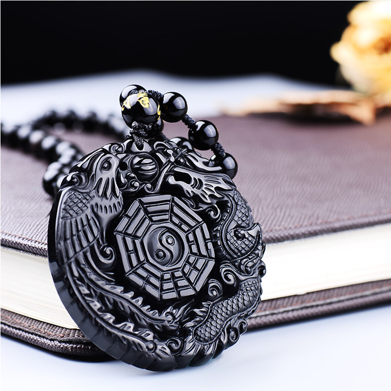 Natural Black Obsidian Pendant obsidian Carving Dragon and Phoenix Necklace Pendant Obsidian Lucky Pendants