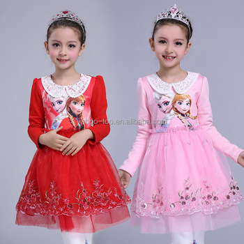 d8610e19c Baby Kids 2018 New Style Dress Pink Cosplay Princess Winter Autumn ...
